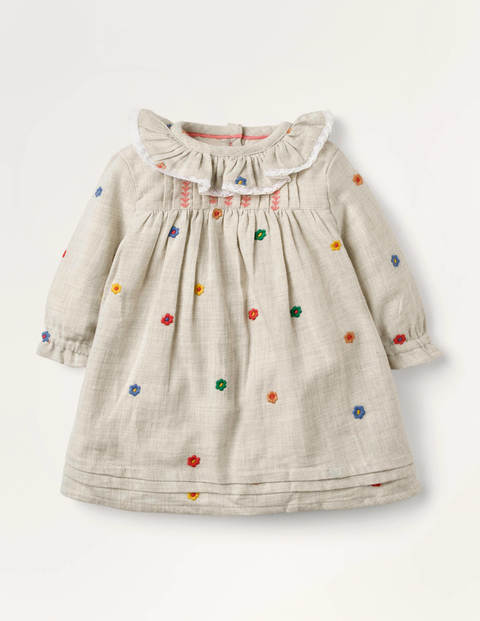 Flower Embroidered Dress - Oatmeal Marl Woodland Friends