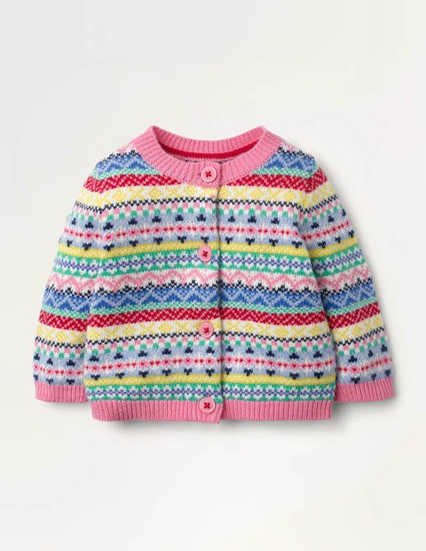 Rainbow Fair Isle Cardigan - Formica Pink Rainbow Fair Isle