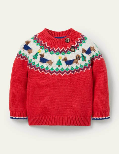 Fair Isle Knitted Sweater - Rockabilly Red Fair Isle