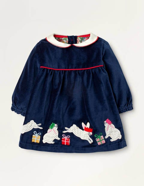 Christmas Bunny Velvet Dress