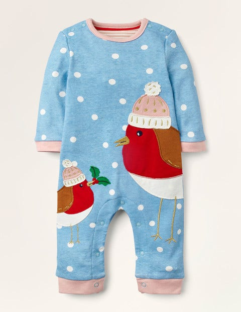Christmas Robin Romper - Frosted Blue/Ivory Robins