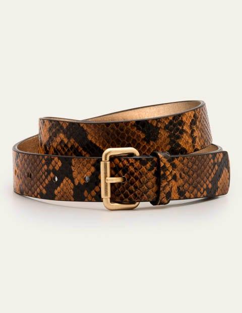 Classic Buckle Belt - Camel Snake