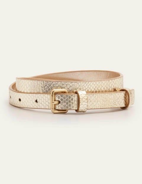 Skinny Buckle Belt - Gold Snake