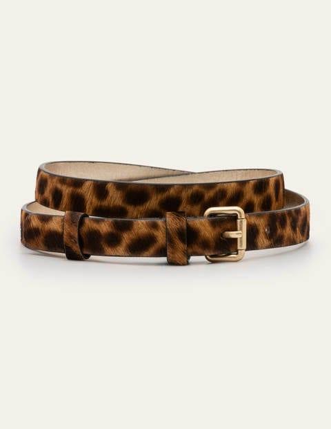 Schmaler Schnallengürtel - Hellbraun, Leopardenmuster