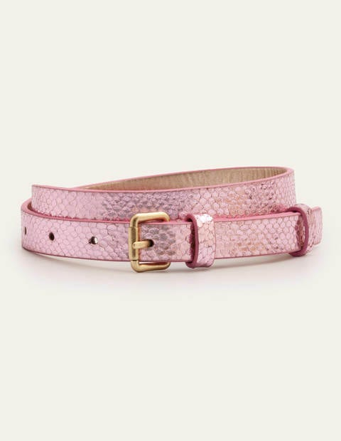 Skinny Buckle Belt - Plum Blossom Metallic Snake