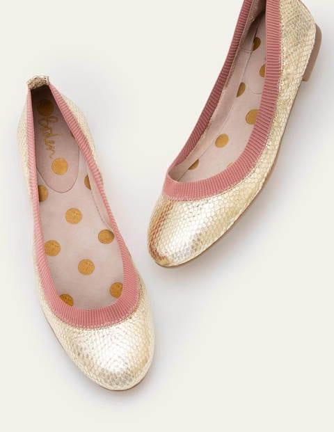 Hettie Flexi Ballerinas - Gold Snake/Dusky Rose