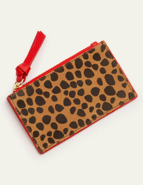 Leather Coin & Card Holder - Natural Cheetah/Red