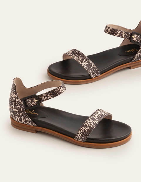 Katie Comfort Sandals - Black/White Snake