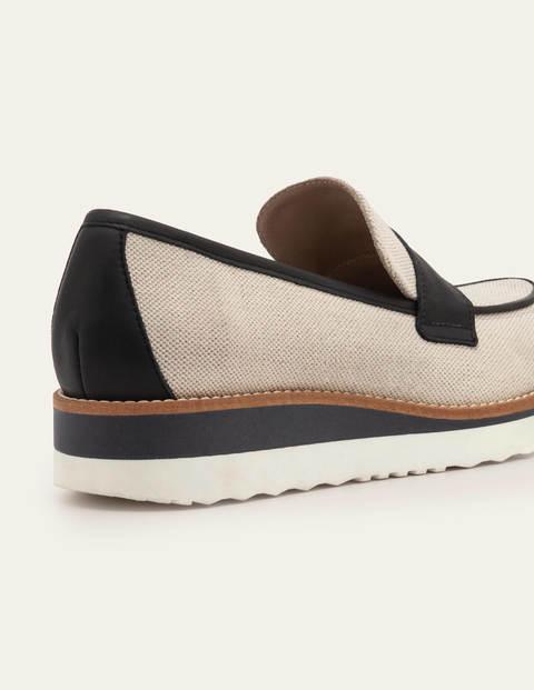 Betty Platform Loafers - Natural Linen