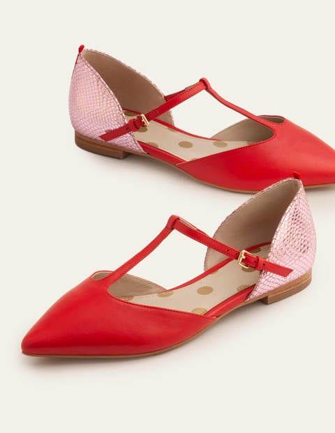 Sienna T-Bar Flats - Red/Plum Blossom Snake