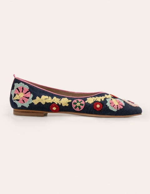 Laura Embroidered Flats - Navy Embroidered