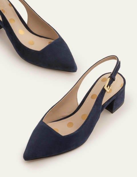 Nadine Slingback Heels - Navy