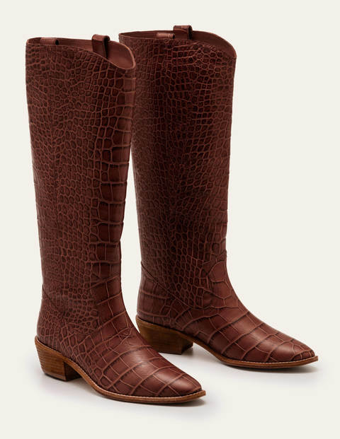 Allendale Knee High Boots - Mahogany Croc