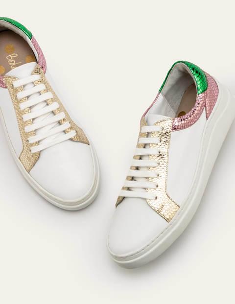 Maria Comfort Sneakers - White/Metallic Snake
