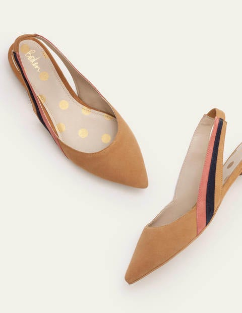 Louisa Flat Slingbacks - Camel Multi