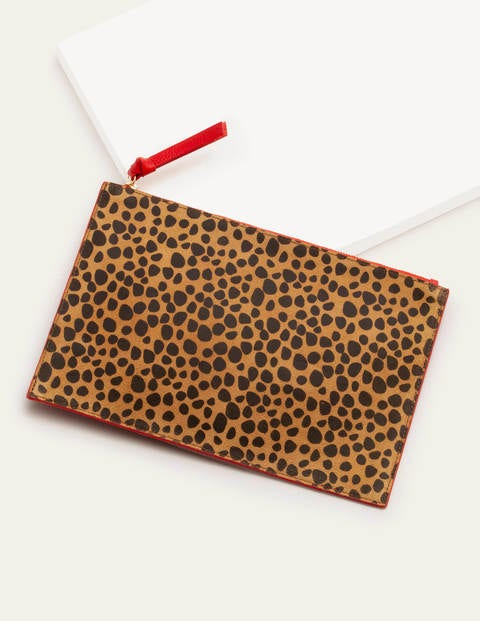 Large Keepsake Pouch - Natural Cheetah/Red