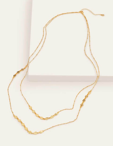 Mini Disc Longline Necklace - Gold Metallic
