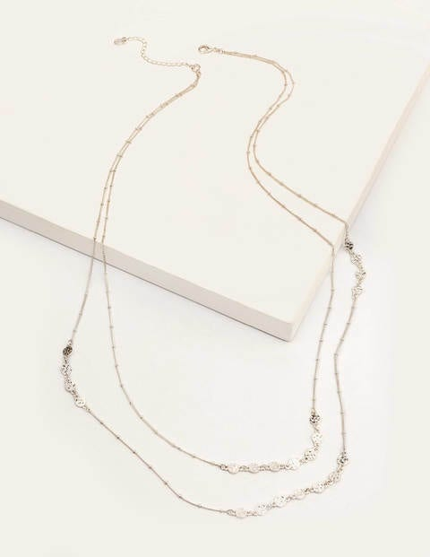 Mini Disc Longline Necklace - Silver Metallic
