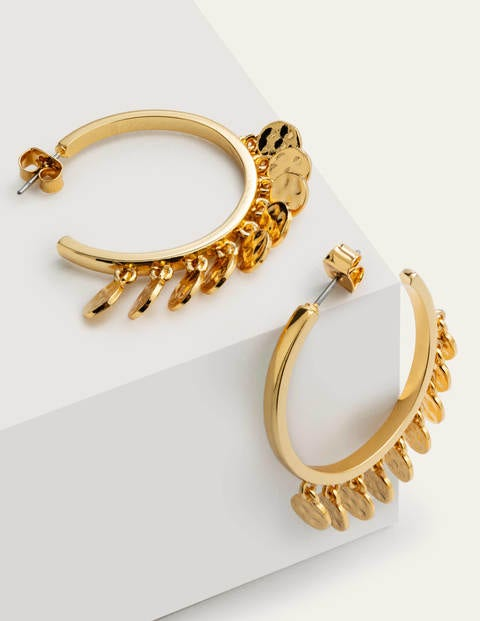 Mini Disc Hoop Earrings - Gold Metallic
