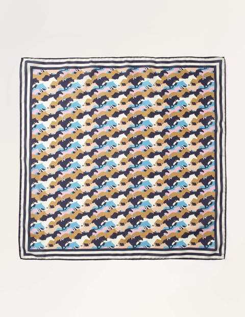 Silk Scarf - French Navy, Running Horses