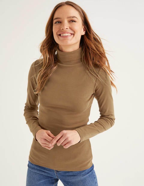 Essential Roll Neck Tee - Camel