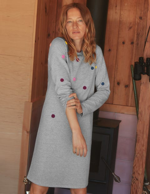 Sweatshirt Dress - Grey Marl, Boucle Spot