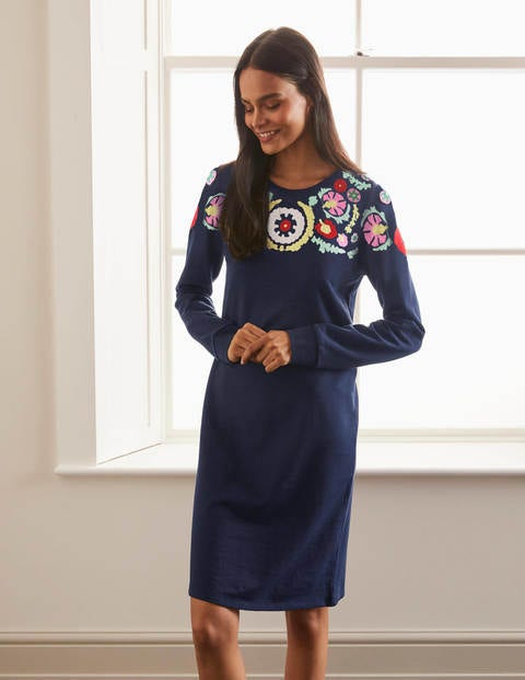 Sweatshirt Dress - Navy, Multi Embroidery