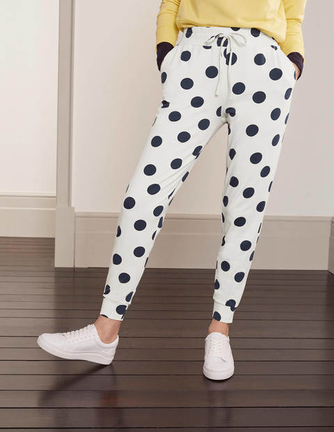 Cuffed Jersey Joggers - Ivory, Spot Scatter