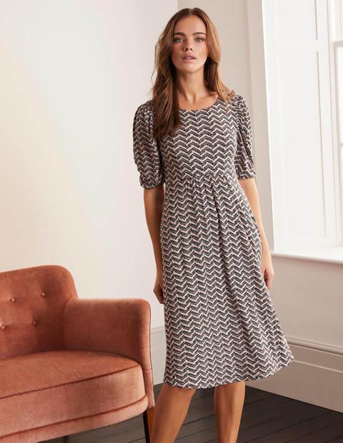 Lily Jersey-Kleid mit Puffärmeln - Rosa, Zickzackmuster ...