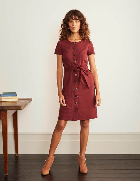 Beatrice Ponte Shift Dress - Maroon