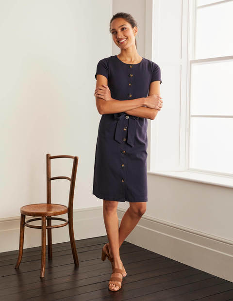 Beatrice Ponte Shift Dress - Navy