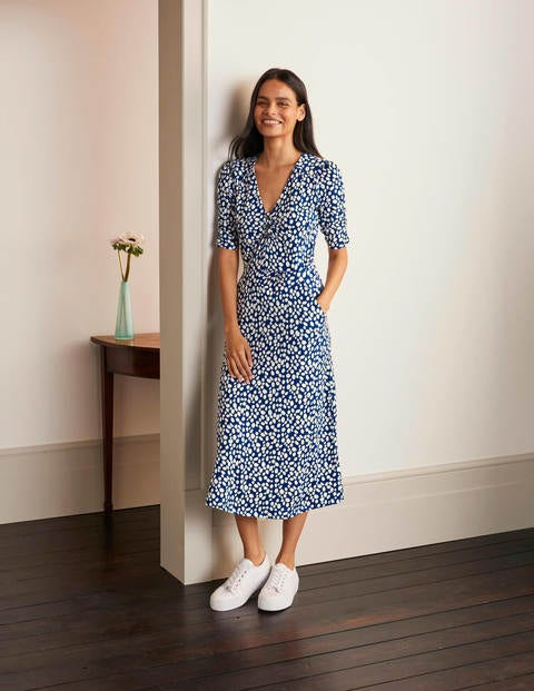 Jane Jersey Midi Dress - Blue Depths, Pebble Spot