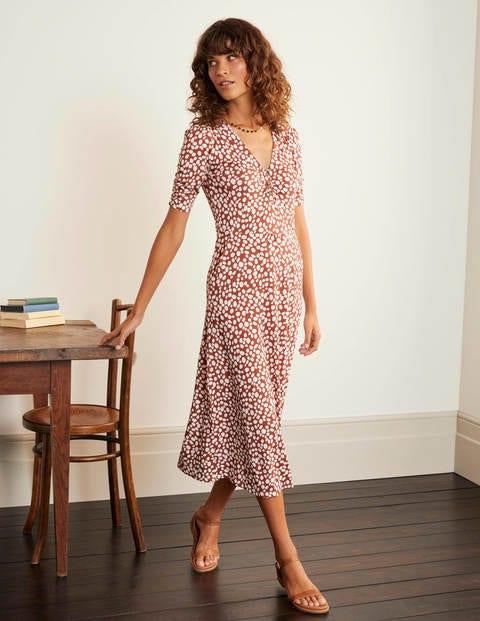 Jane Jersey Midi Dress - Red Oak, Pebble Spot