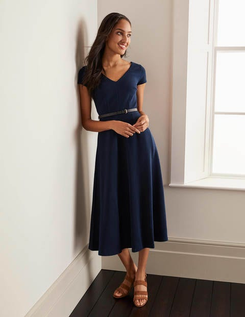 Belle V-neck Ottoman Dress - Navy