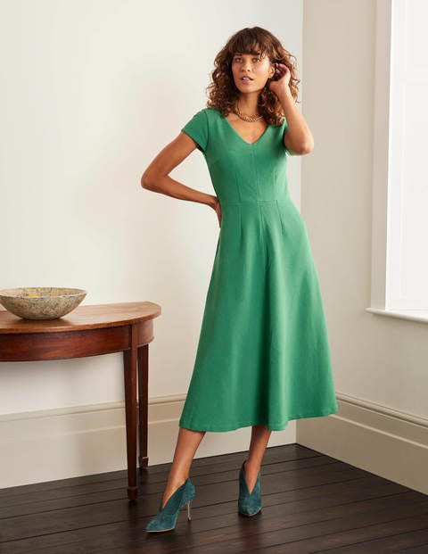Belle V-neck Ottoman Dress - Sage Green