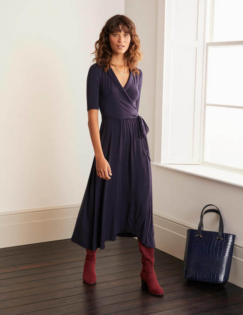 Lavinia Jersey Wrap Dress - Navy