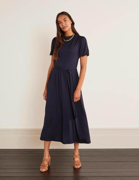 Flora Jersey Puff Sleeve Dress - Navy