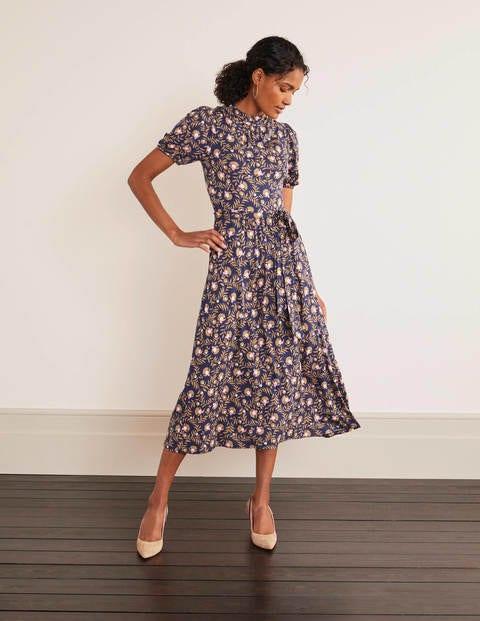 Flora Jersey Puff Sleeve Dress - Navy, Wild Bramble