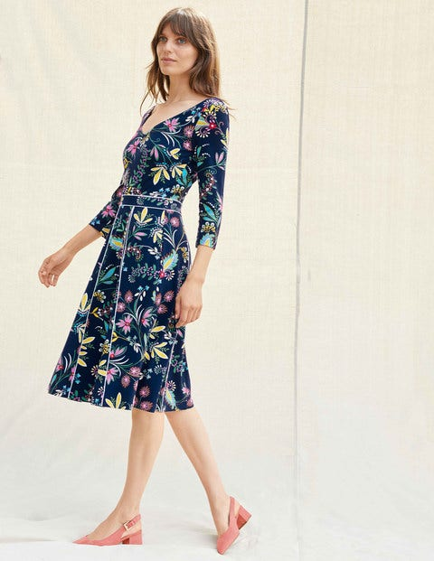 Clea Ponte Dress - Navy and Maize, Heritage