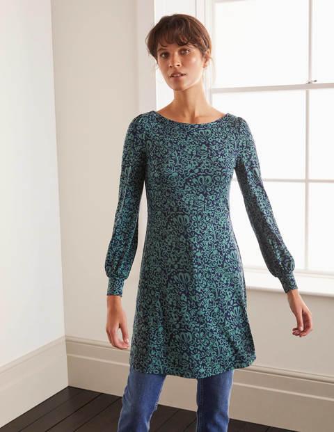 Maisie Jersey Tunic - Navy, Decorative Bloom