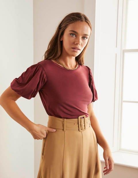 Holly Jerseyshirt mit Puffärmeln - Rotbraun