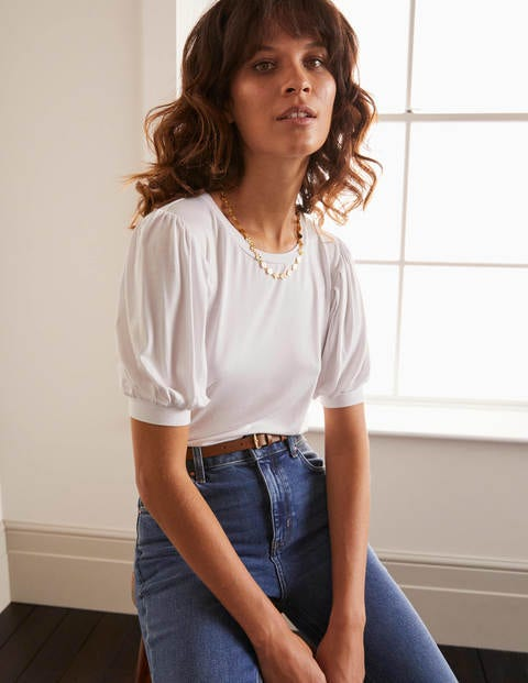 Holly Puff Sleeve Jersey Top - White