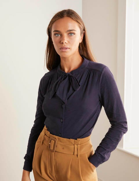 Rachel Tie Neck Jersey Shirt - Navy