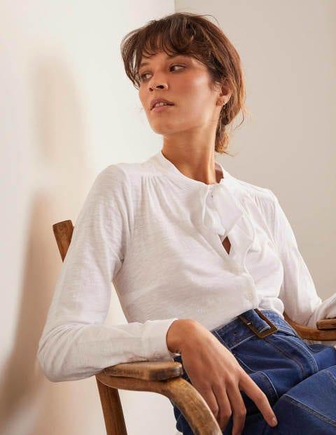 Rachel Tie Neck Jersey Shirt - White