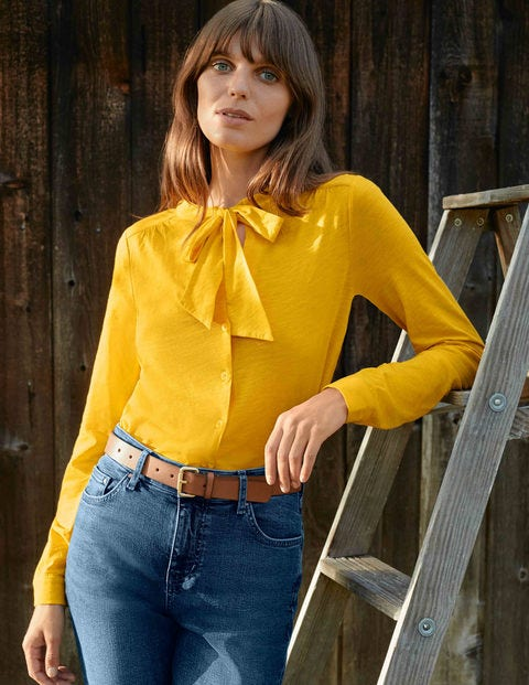 Rachel Tie Neck Jersey Shirt - Maize