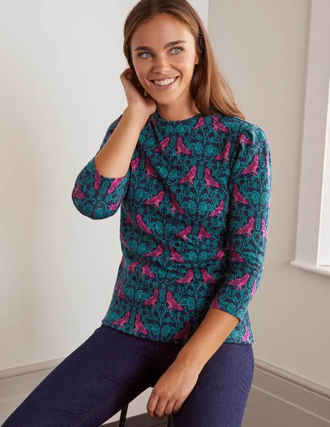 Aria Jersey Jacquard Top - Navy/Wild Meadow, Love Finch