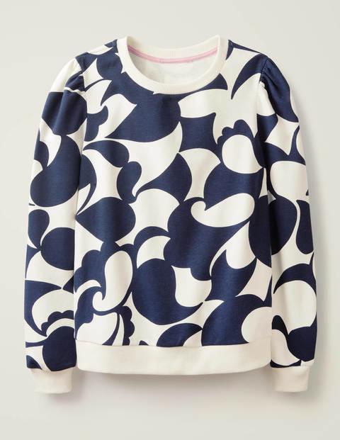 Puff Sleeve Sweatshirt - Navy, Teardrop Swirl