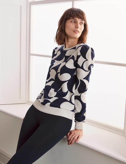 Puff Sleeve Sweatshirt - Navy, Teardrop Swirl