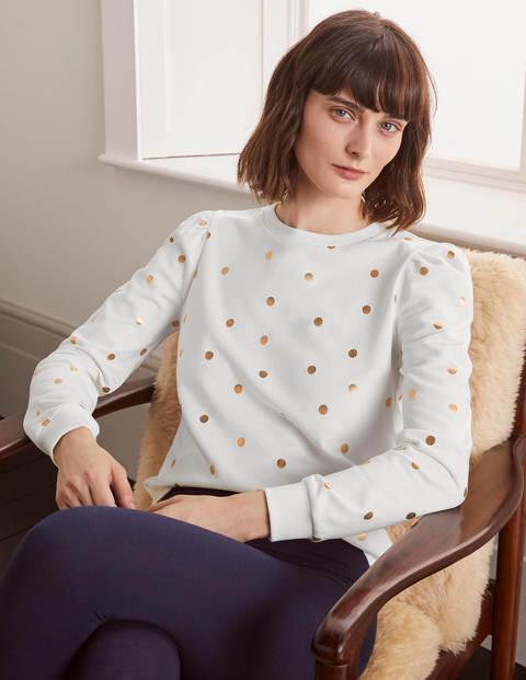 Puff Sleeve Sweatshirt - Ivory and Gold, Polka Dot