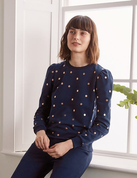 Puff Sleeve Sweatshirt - Navy and Gold, Polka Dot